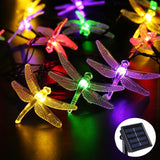 6M 30 Led Dragonfly Outdoor Lighting RGB Solar Light Led Christmas String Fairy Lights For Home And Garden Waterproof Led Sensor