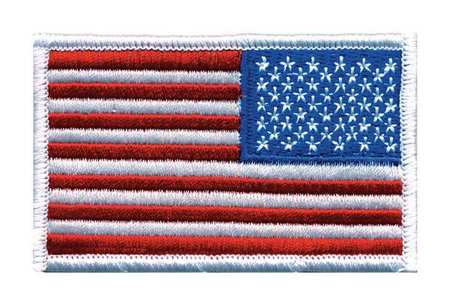 Embroidered Patch, Reverse U.S. Flag, White
