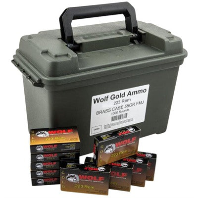 Wolf Gold 223 REM 55GR FMJ 1000 w/Can