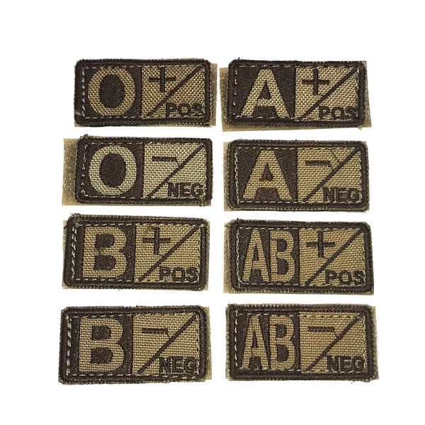 Condor Blood Type Patch- Tan/Brown Type O Negative - Single