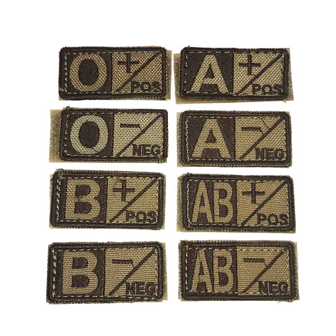 Condor Blood Type Patch- Tan/Brown Type AB Negative - Single