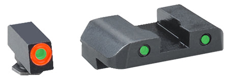 AmeriGlo GL446 Spartan Operator Night Sight- Glock- Steel Green w/Orange Outline- Steel Green w/Blk Outline