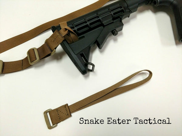 A long webbing loop for attaching your sling to the buttstock end of your carbine.