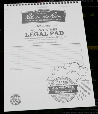 Rite in the Rain All-Weather Legal Pad - LP785