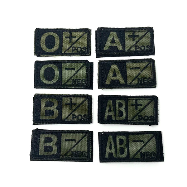 Condor Blood Type Patch- OD/Black Type AB Negative - Single
