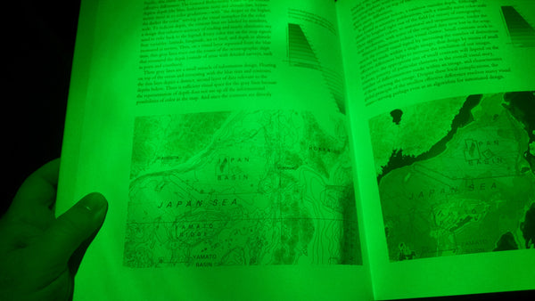 Green LED pointed directly at the page