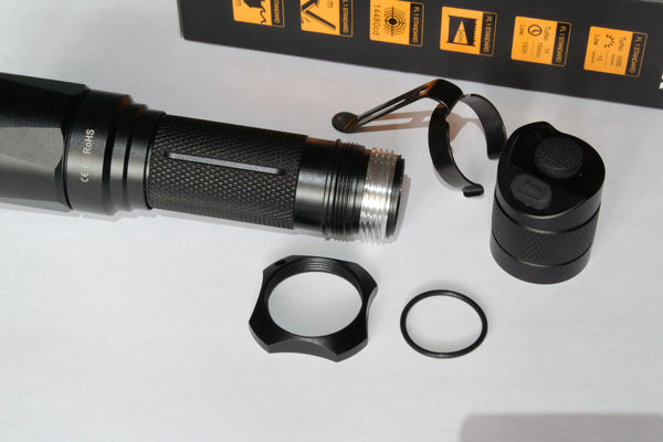 Fenix TK16 tail cap, clip, and tactical ring