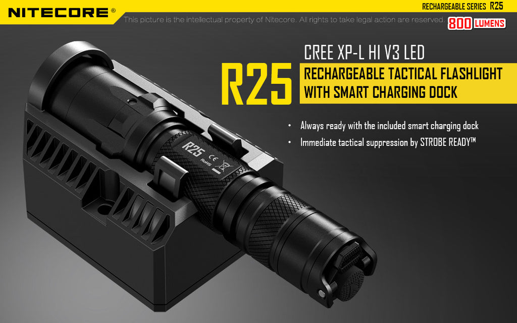 Nitecore R25 Tactical Rechargeable Flashlight with charging dock