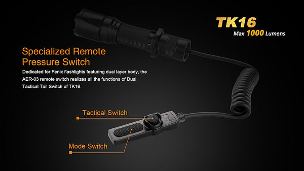 Fenix TK16 remote tactical switch for weapon mounting