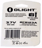 Olight 16340 battery card back
