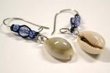 Cowry Shell with Blue Crystal Bead Earrings