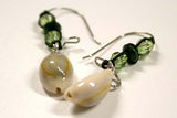 Cowry Shell with Wood and Green Crystal Bead Earrings