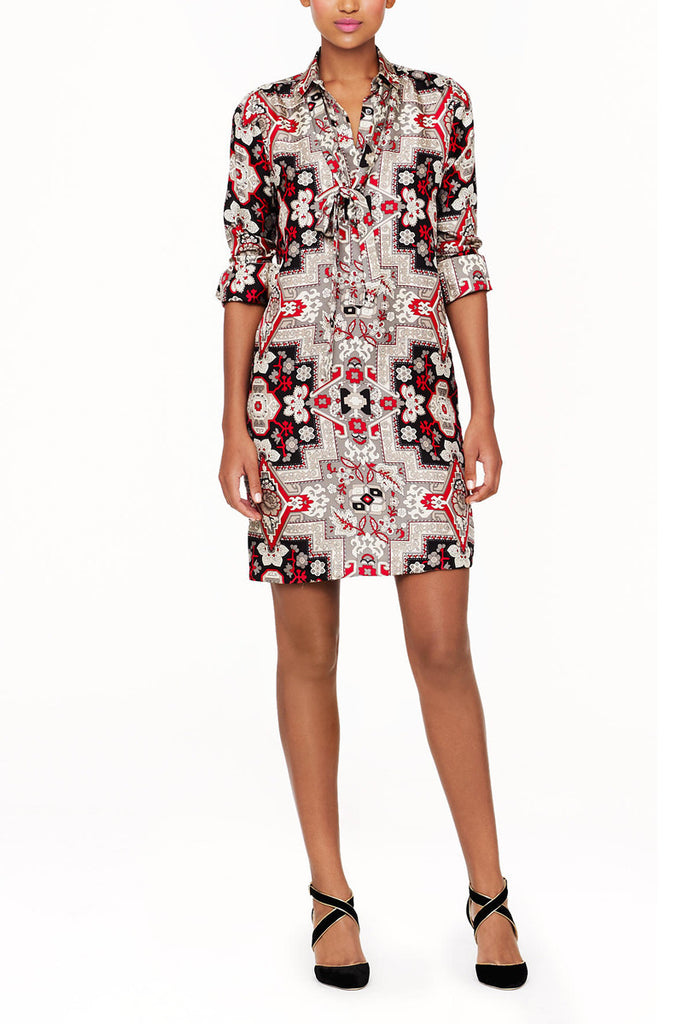 J. Crew COLLECTION ITALIAN SILK SHIRTDRESS IN TAPESTRY PRINT