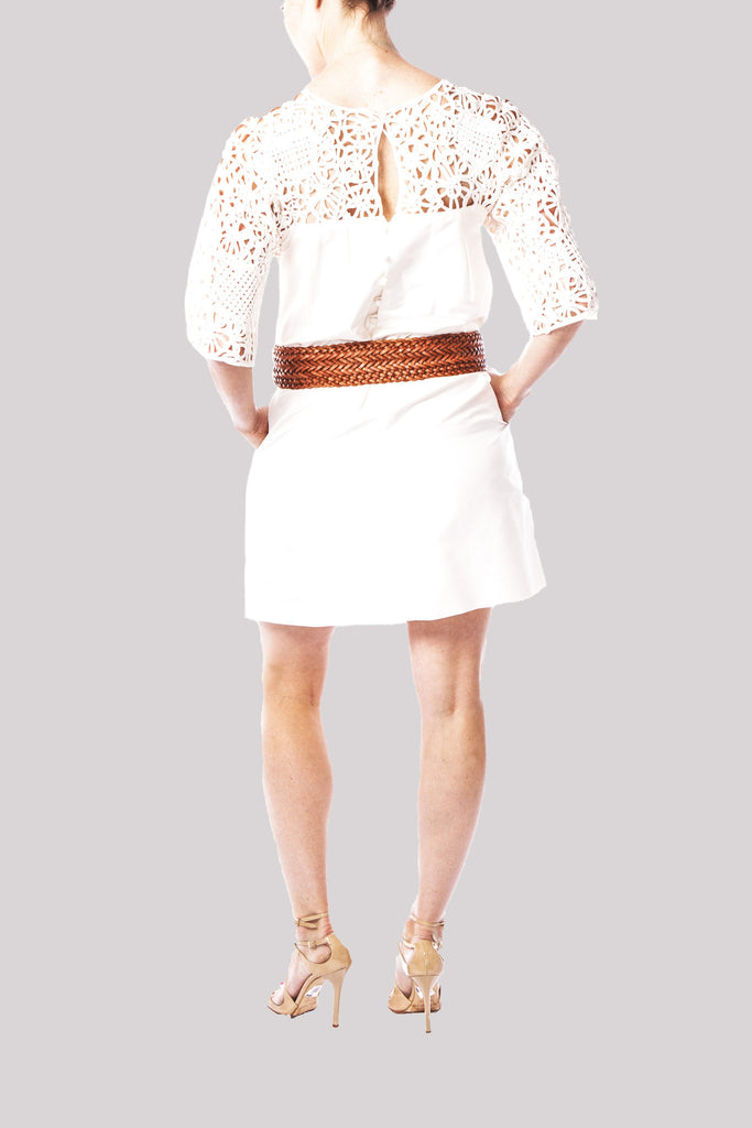 Lela Rose One of a Kind Silk Crepe White Lace Dress
