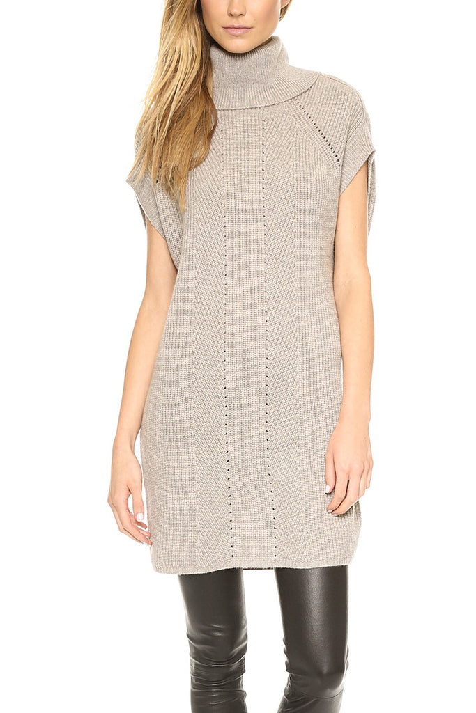 Vince Ribbed Beige Wool & Cashmere Ribbed Cowlneck Sweater Tunic