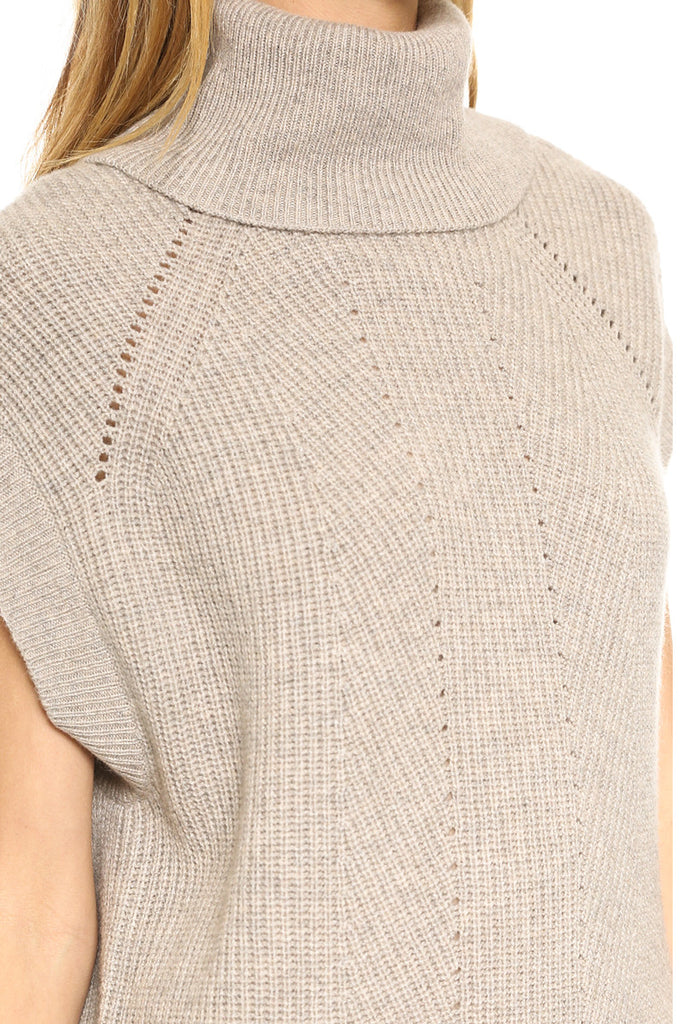 Vince-Vince Ribbed Wool & Cashmere Cowlneck Sweater Tunic