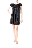 Alice + Olivia Black Sequin Cap Sleeve Dress