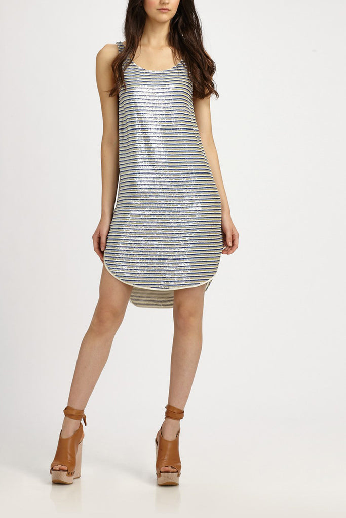 Theory Silver Nirla Sequin Dress