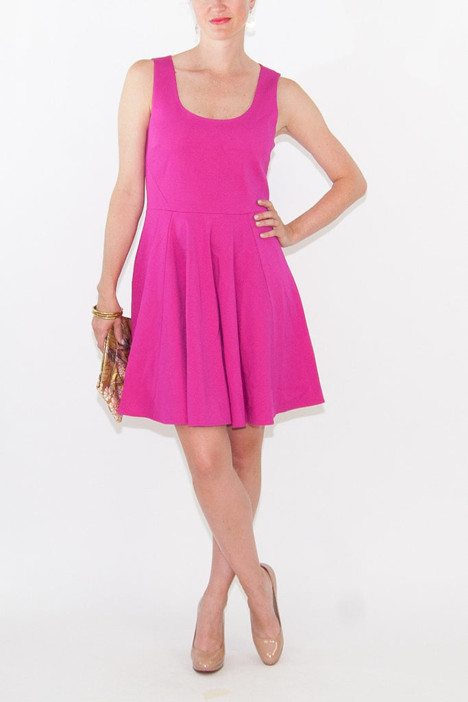 4.collective Pink Ponte Open Neck Flirty Dress
