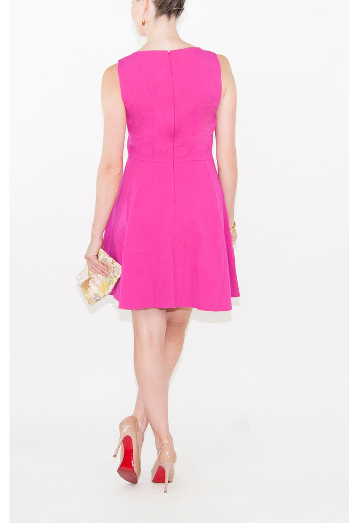 4.Collective-4.collective Pink Ponte Open Neck Flirty Dress