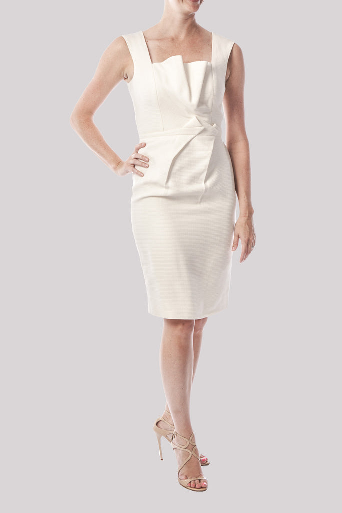 Lela Rose Ivory Woven-in Sheen Dress