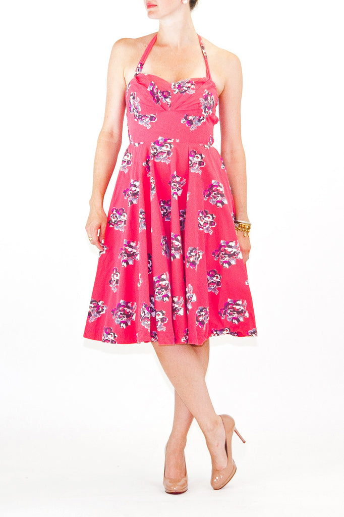 Girls from Savoy Strapless Halter Floral Cherry Blossom Print Dress
