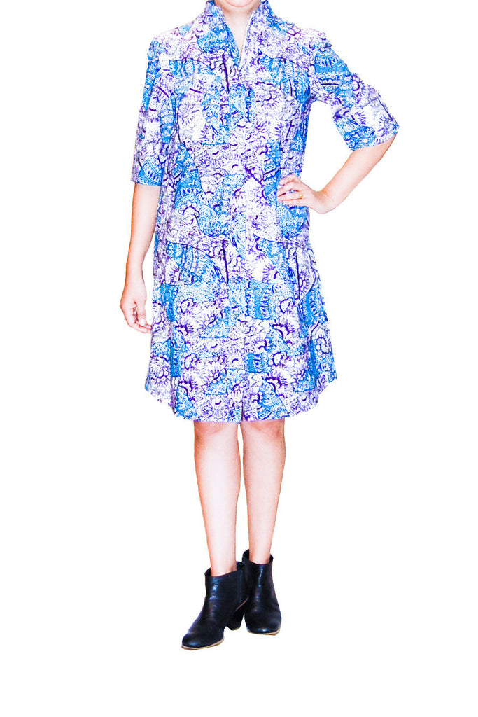 Suno Purple and Blue Print Dress with Zip up Front