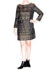 Shoshanna Shift Dress with Metallic Woven Threads