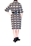 Suno black and gold print cotton shirt-style dress