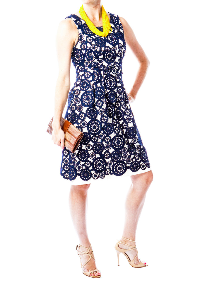 Lela Rose Dress with Blue Lace Overlay