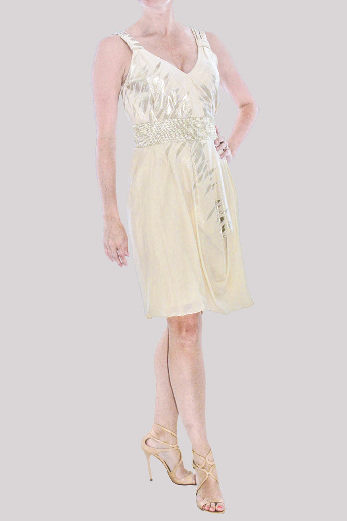 Lela Rose Spring 2010 collection ivory dress with metallic silver print and waistbanb