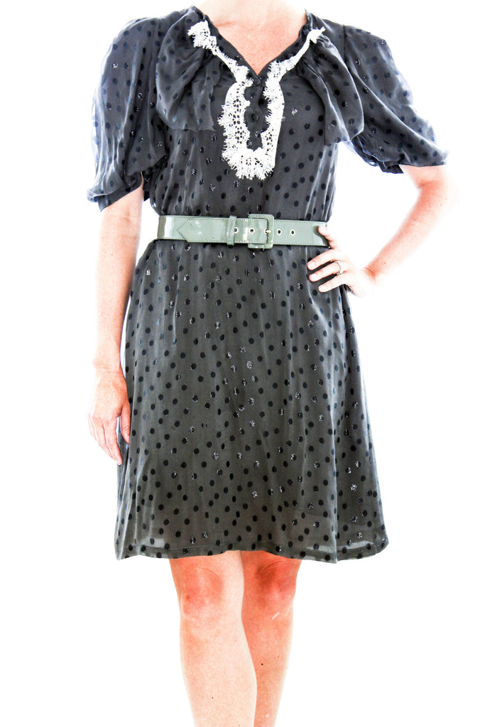 Lela Rose Brown Vintage Inspired Polka Dot Dress with White Lace Trim
