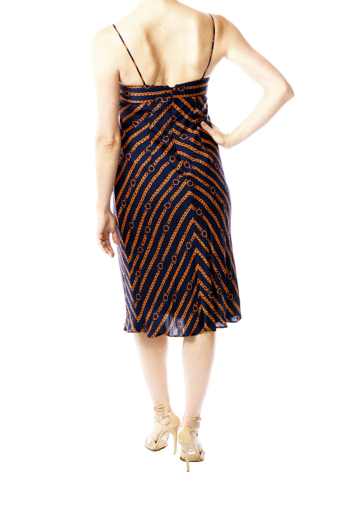 Shoshanna Navy and Orange Chain-link Pattern Dress
