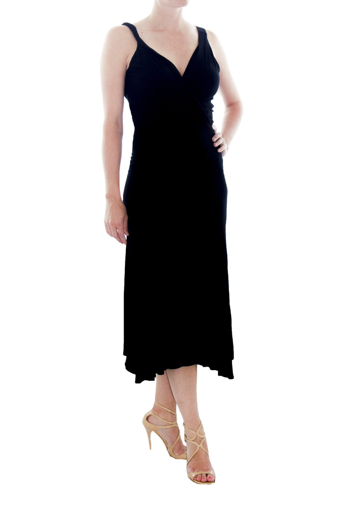 MaxMara black asymmetric strap and cowl neck front dress