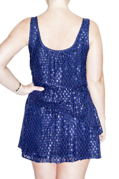 Madison Marcus Navy Layered Polka Dot Dress