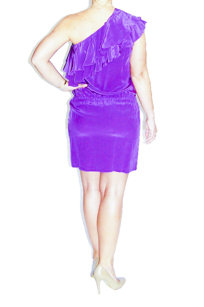 Karina Grimaldi One Shoulder Ruffled Purple Dress