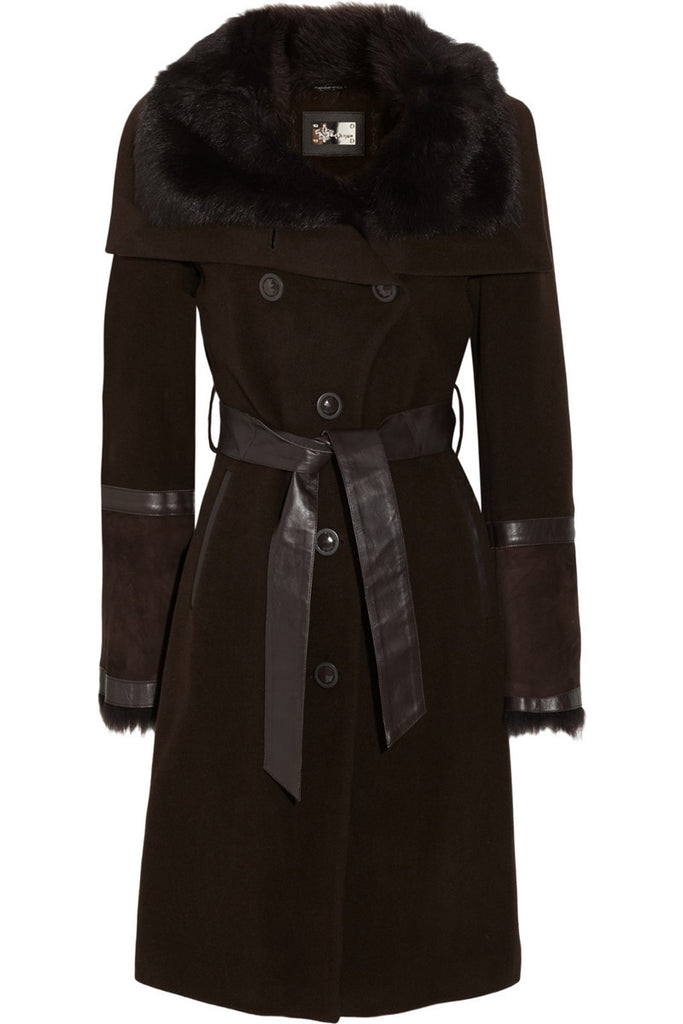 MACKAGE Shearling-trimmed wool-blend coat