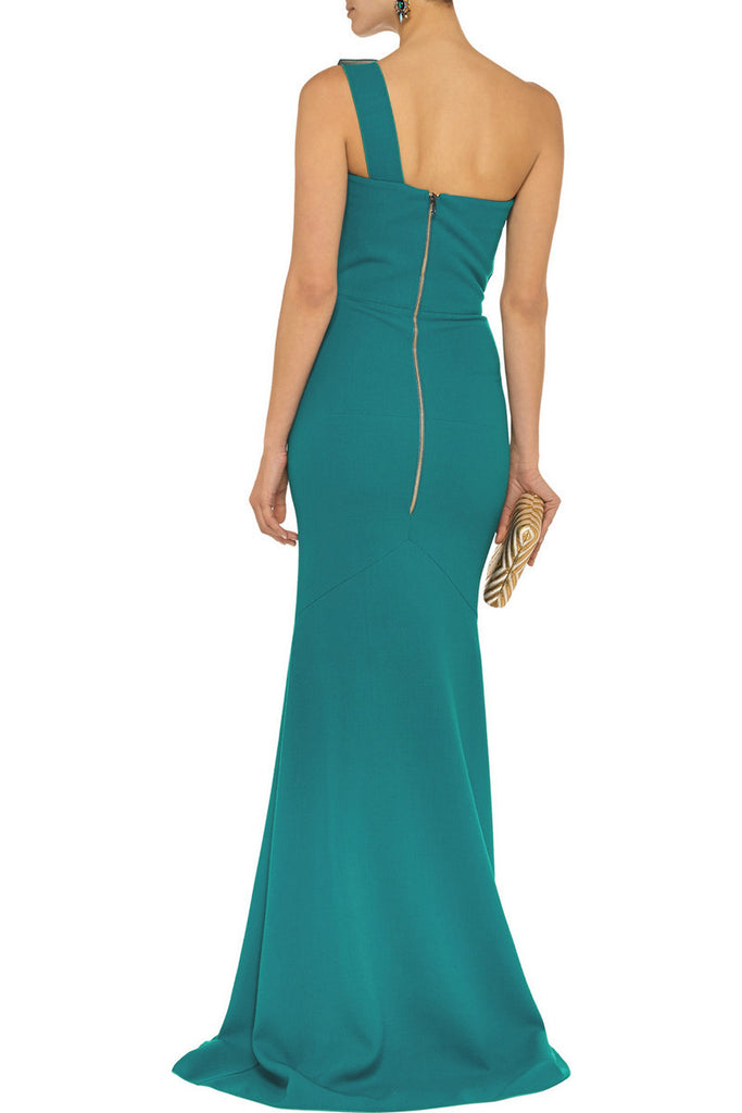 ROLAND MOURET Azul one-shoulder double-faced wool-crepe gown