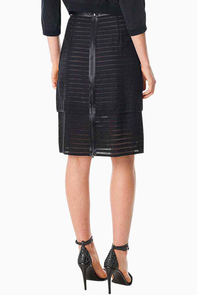 TIBI ORGANZA STRIPE LAYERED PENCIL SKIRT