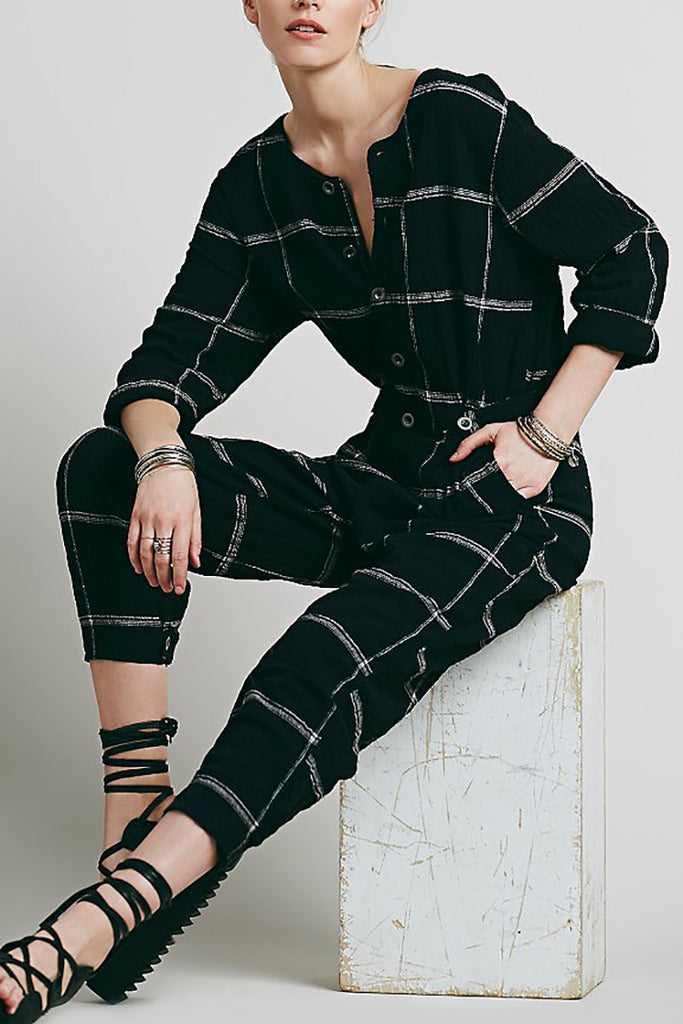 Free People Crinkled plaid collarless jumpsuit