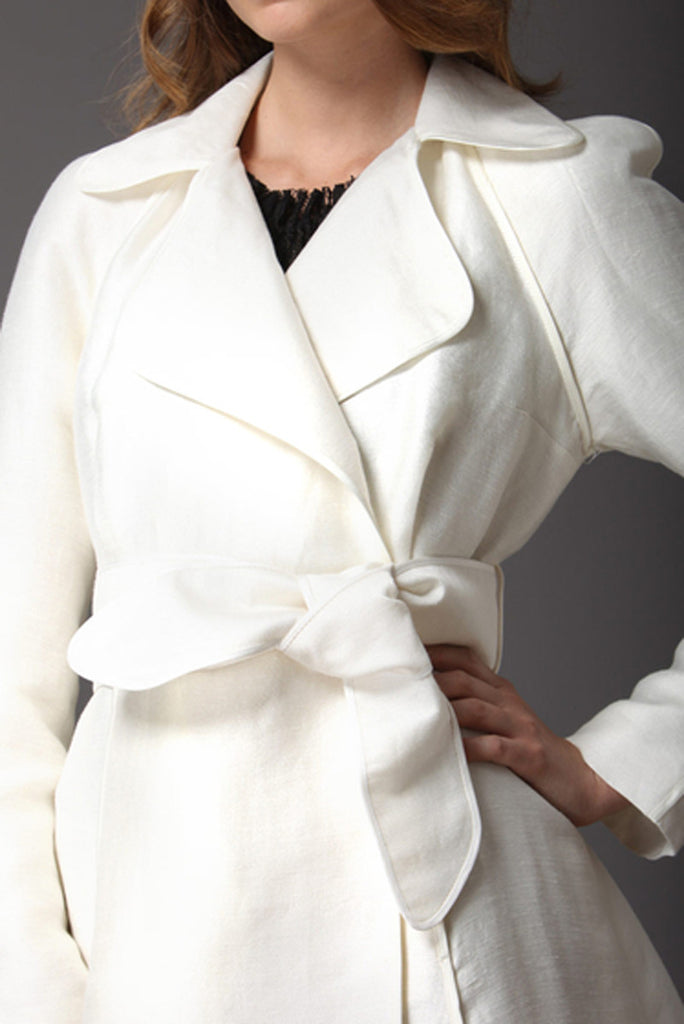 Tracy Reese Ivory BELTED TRENCH COAT
