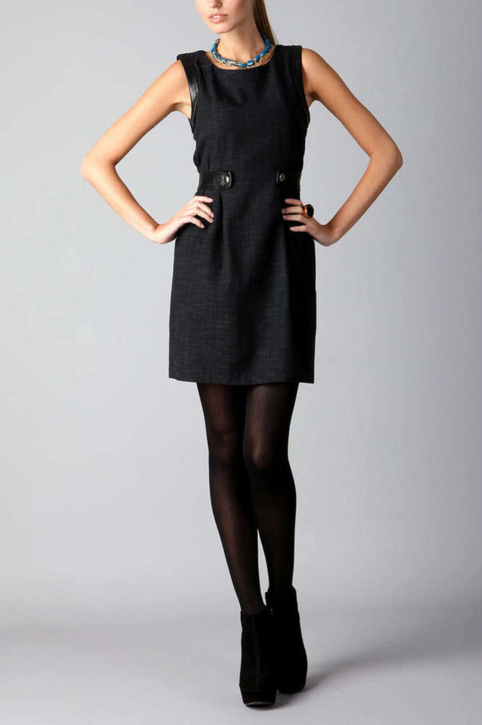 Cynthia Steffe Navy Woven Dress with Leather Trimming