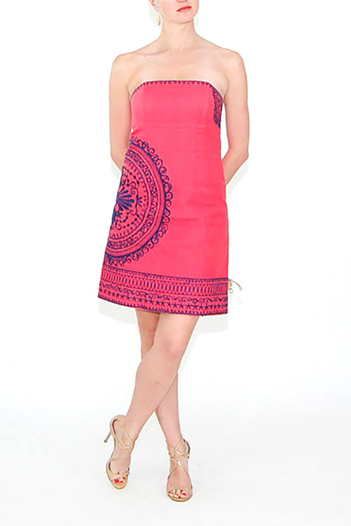Lilly Pulitzer Pink strapless Dress with Navy Embroidered Detail