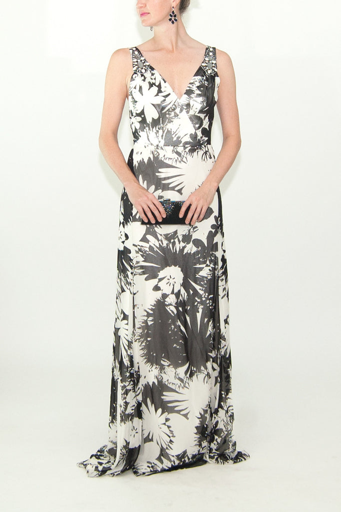 Badgley Mischka Black and White Floral Silk Gown
