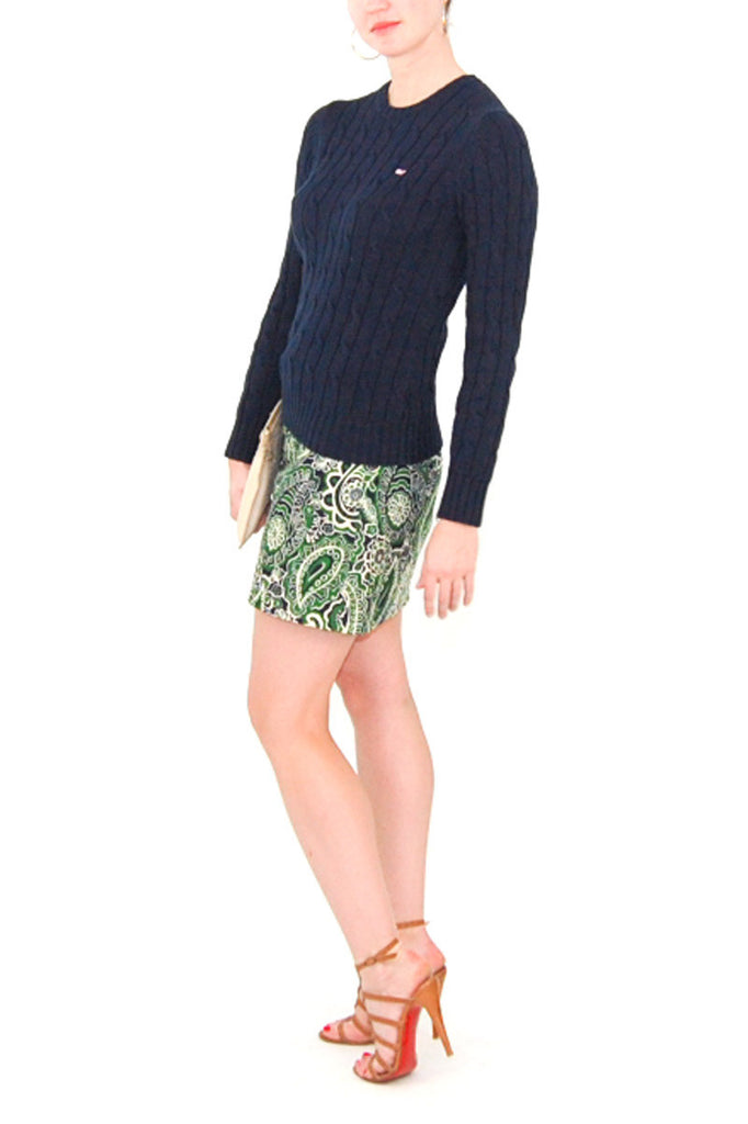 Lilly Pulitzer Cotton Navy and Green Paisley Skirt