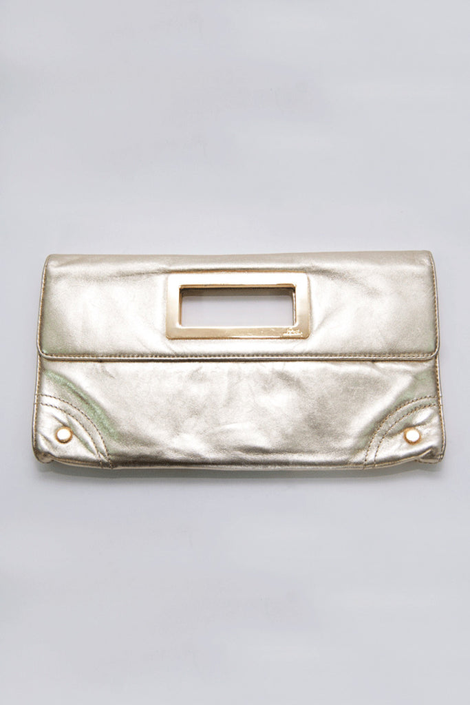 Lilly Pulitzer Mizner Gold leather Clutch
