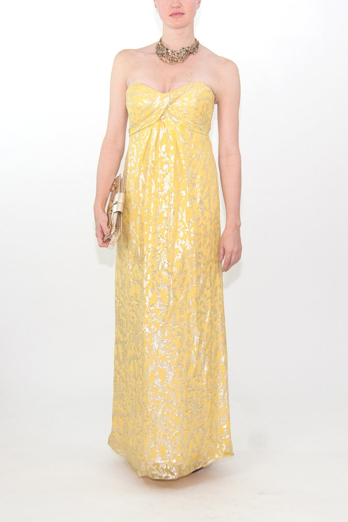 Nicole Miller Yellow Strapless-Gown