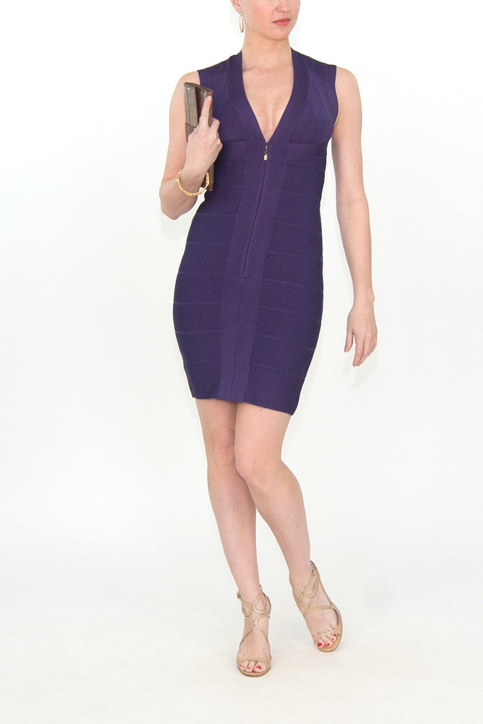 Herve Leger Purple zip front bandage cocktail dress