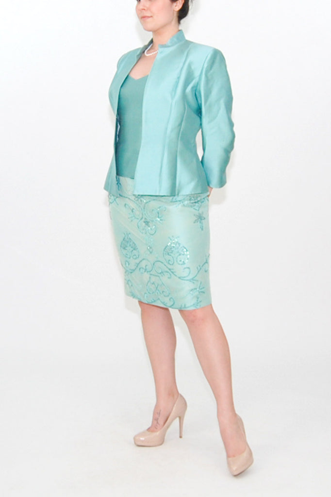 Jovani Turquoise Skirt Suit with beaded skirt