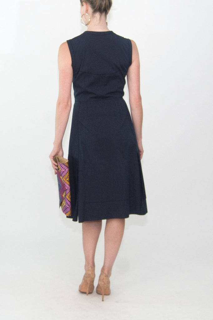 Prada Navy Sleeveless Cotton Dress